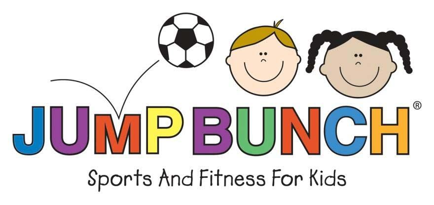 "Jump Bunch Logo of children and a soccer ball with slogan ""Sports and Fitness for Kids"""