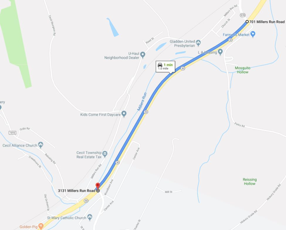 Map of Route 50 closure area