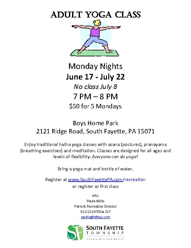 Yoga at Boys Home Park Flyer for Summer 2019