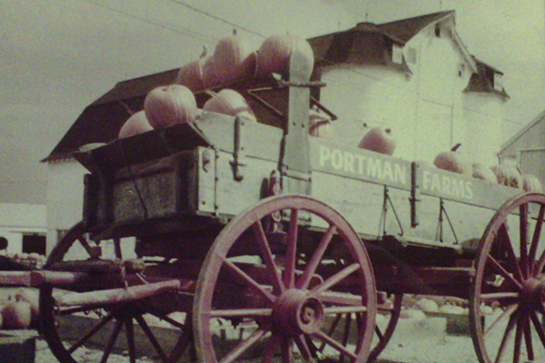 Historic photo of pumpkins in Portman Farms wagon
